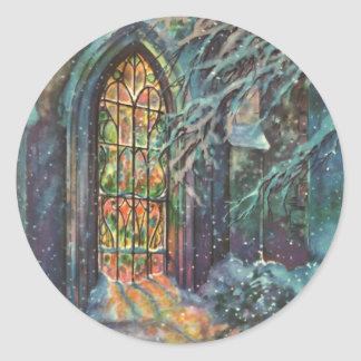 Vintage Christmas Church with Stained Glass Window Classic Round Sticker