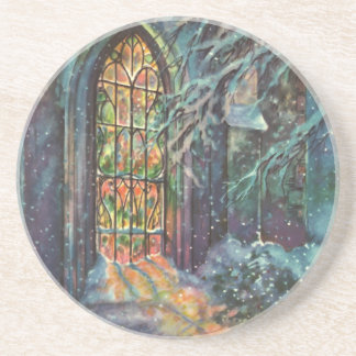 Vintage Christmas Church with Stained Glass Window Coaster