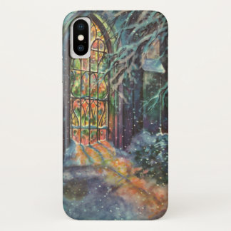 Vintage Christmas Church with Stained Glass Window iPhone X Case