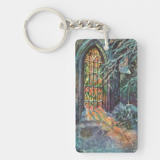 Vintage Christmas Church with Stained Glass Window Keychain
