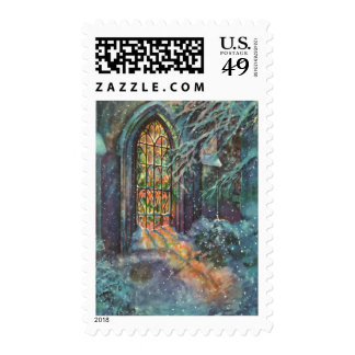 Vintage Christmas Church with Stained Glass Window Postage