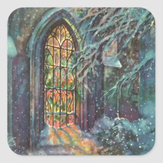 Vintage Christmas Church with Stained Glass Window Square Sticker