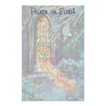 Vintage Christmas Church with Stained Glass Window Stationery