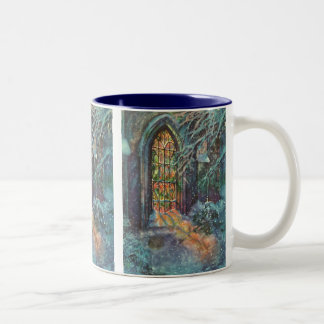 Vintage Christmas Church with Stained Glass Window Two-Tone Coffee Mug