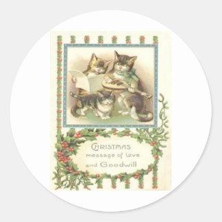 Vintage Christmas Classic Round Sticker