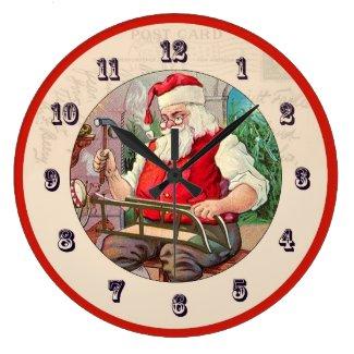 Vintage Christmas Clock - Santa building a sled