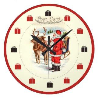 Vintage Christmas Clock - Santa Feeding Reindeer
