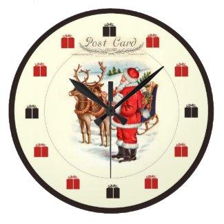 Vintage Christmas Clock - Santa Feeding Reindeer I
