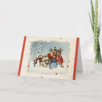 Vintage Christmas Coach Holiday Card