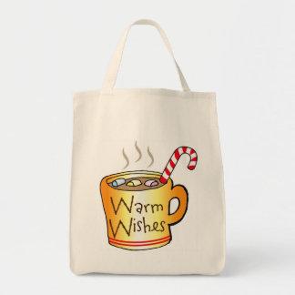 Vintage Christmas Cocoa Coffee Mug Reusable Canvas Bags