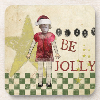 Vintage Christmas Collage Be Jolly Coasters