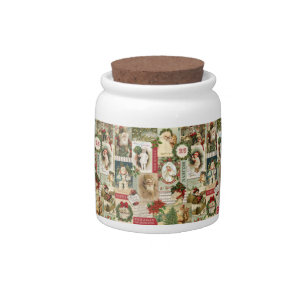 vintage christmas collage candy jar