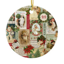 VINTAGE CHRISTMAS COLLAGE CERAMIC ORNAMENT