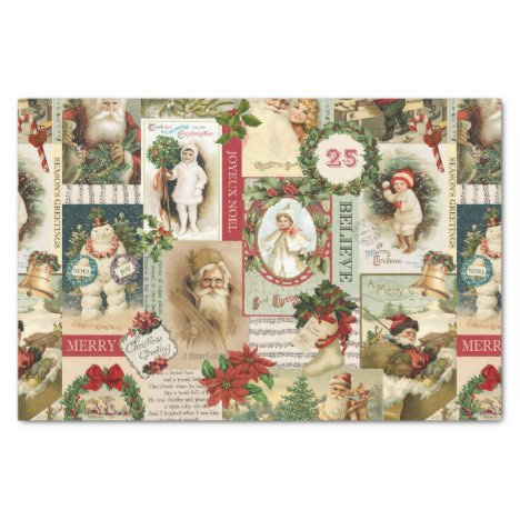 vintage Christmas collage decoupage tissue paper
