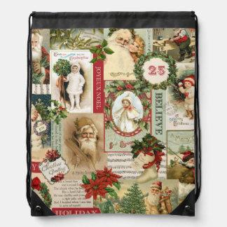 VINTAGE CHRISTMAS COLLAGE DRAWSTRING BAG