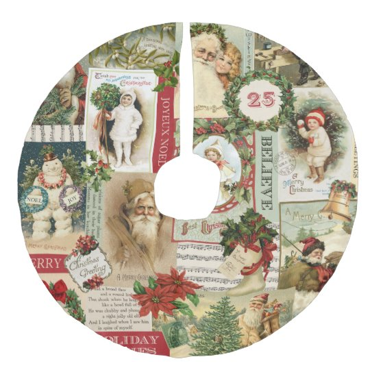 Linen Christmas Tree Skirt: VINTAGE CHRISTMAS COLLAGE FAUX LINEN TREE SKIRT