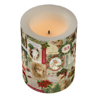 VINTAGE CHRISTMAS COLLAGE FLAMELESS CANDLE