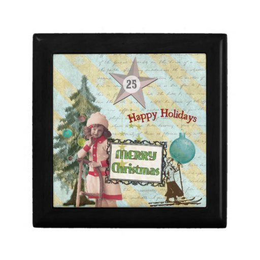 Vintage Christmas Collage Gift Box