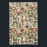 """VINTAGE CHRISTMAS COLLAGE HAND TOWEL<br><div class=""""desc"""">Modern Vintage Christmas collage made up of old fashioned holiday postcards.</div>"""