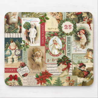 VINTAGE CHRISTMAS COLLAGE MOUSE PAD