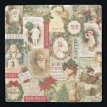 """VINTAGE CHRISTMAS COLLAGE STONE COASTER<br><div class=""""desc"""">Modern Vintage Christmas collage made up of old fashioned holiday postcards.</div>"""