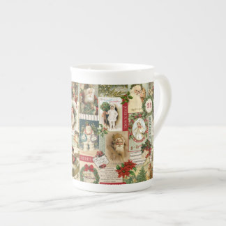 VINTAGE CHRISTMAS COLLAGE TEA CUP
