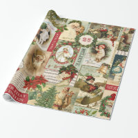 VINTAGE CHRISTMAS COLLAGE WRAPPING PAPER