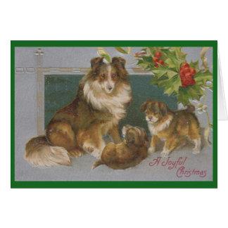 Vintage Christmas Collies Grandparents Card