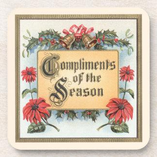Vintage Christmas, Compliments of the Season Beverage Coaster