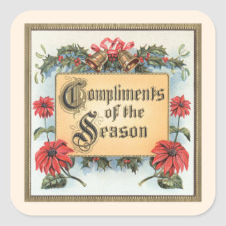 Vintage Christmas Compliments of the Season Square Sticker