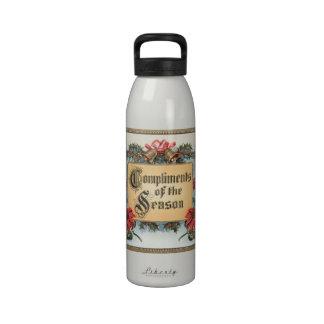 Vintage Christmas, Compliments of the Season Reusable Water Bottle