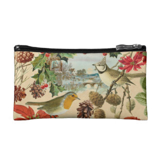 Vintage Christmas cosmetic bag w/ birds and flower