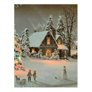 Vintage Christmas Cottage Postcard