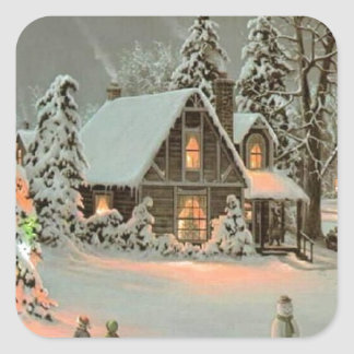 Vintage Christmas Cottage Square Sticker