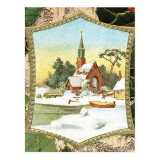 Vintage Christmas Country Church Postcard