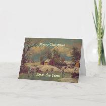 Vintage Christmas Country Farm Scene Card