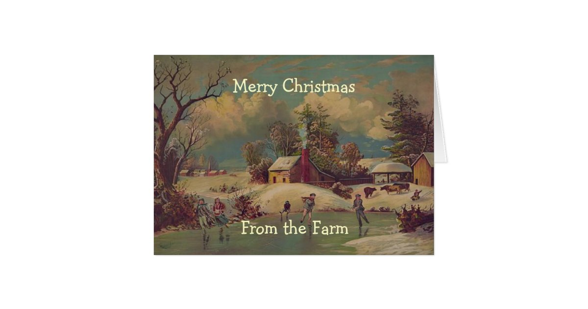 vintage christmas country farm scene card