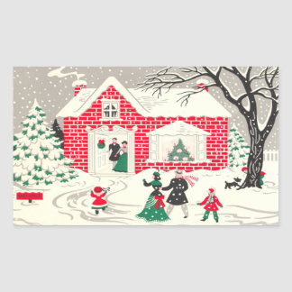 Vintage Christmas Countryside Greeting Stickers
