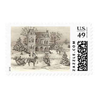Vintage Christmas Countryside Medium Postage