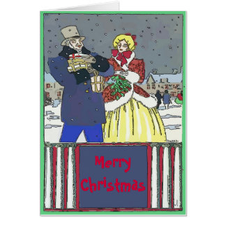 Vintage  Christmas Couple  edit text Card