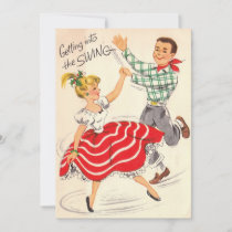 Vintage Christmas Couple Getting Into The Swing Holiday Card