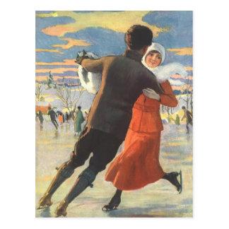 Vintage Christmas, Couple Ice Skating Post Cards