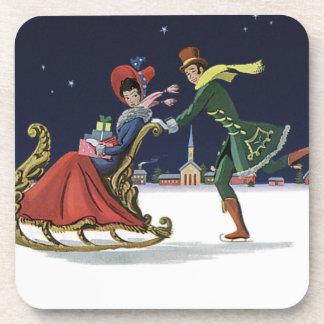 Vintage Christmas, Couple in Love Ice Skating Beverage Coaster