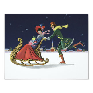 Vintage Christmas, Couple in Love Ice Skating Card