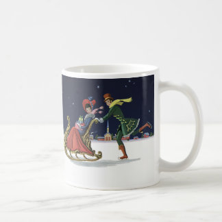 Vintage Christmas, Couple in Love Ice Skating Coffee Mug