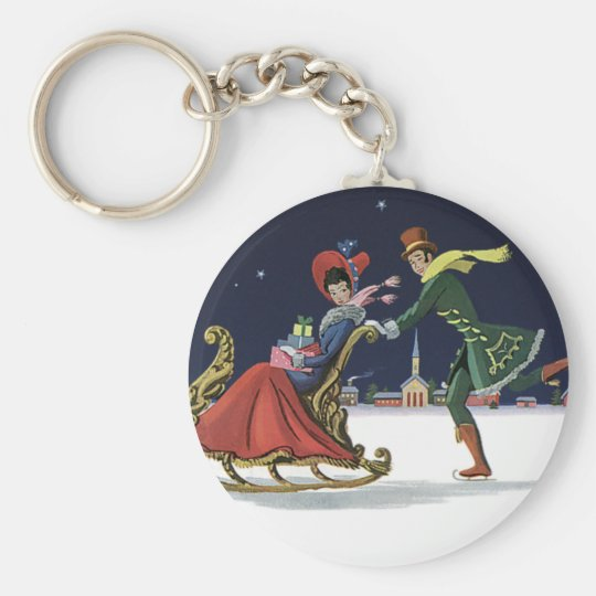Vintage Christmas, Couple in Love Ice Skating Keychain