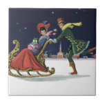 Vintage Christmas, Couple in Love Ice Skating Small Square Tile
