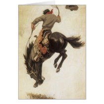 Vintage Christmas, Cowboy on Bucking Bronco Horse Card