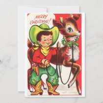Vintage Christmas Cowboy With Reindeer Holiday Card