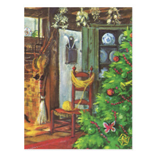 Vintage Christmas, Cozy Living Room Fireplace Postcards